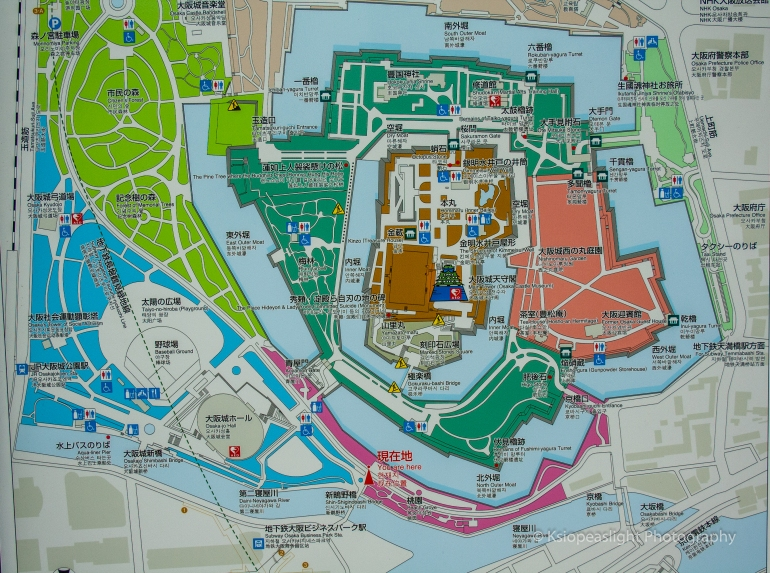 Mapa del Palacio de Osaka y alrededores