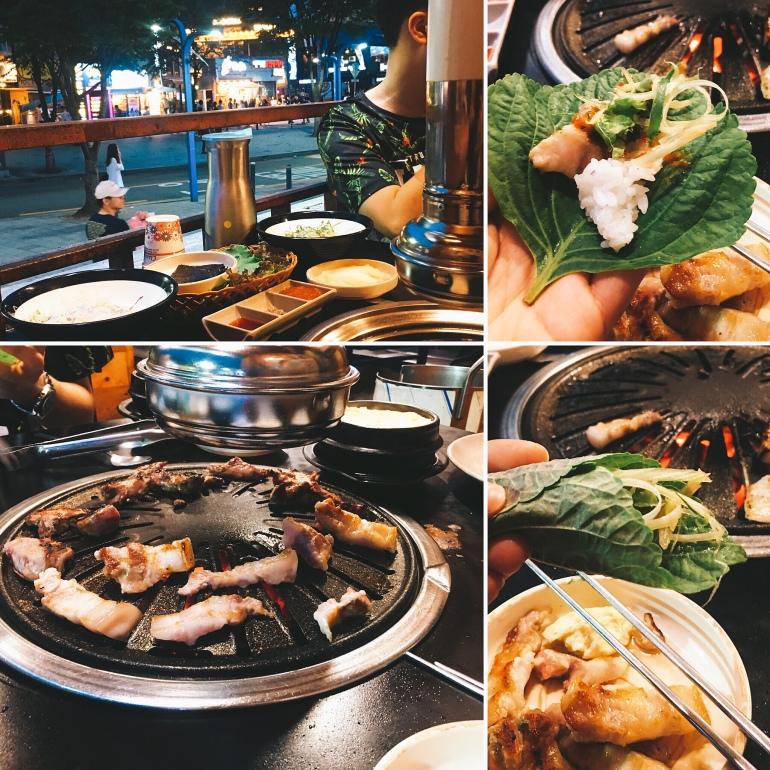 Barbacoa coreana con panceta en Hongdae