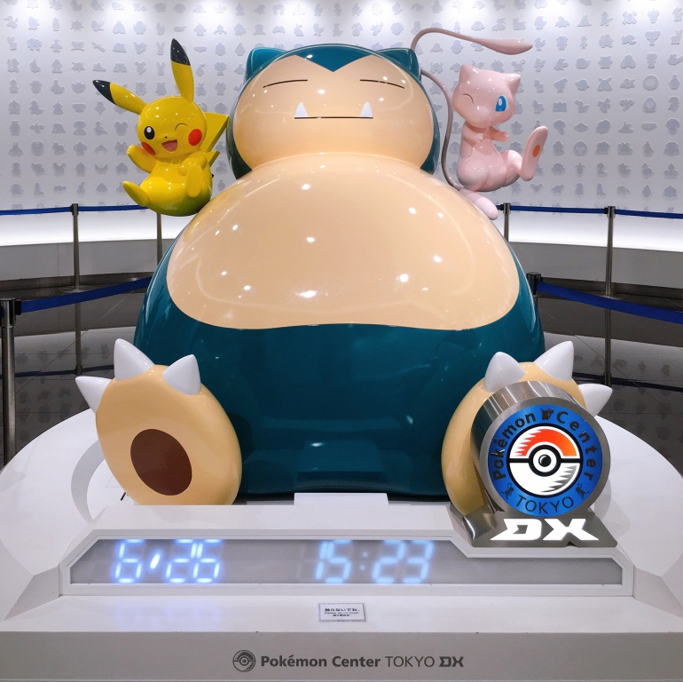 Escultura de Snorlax, Pikachu y Mew