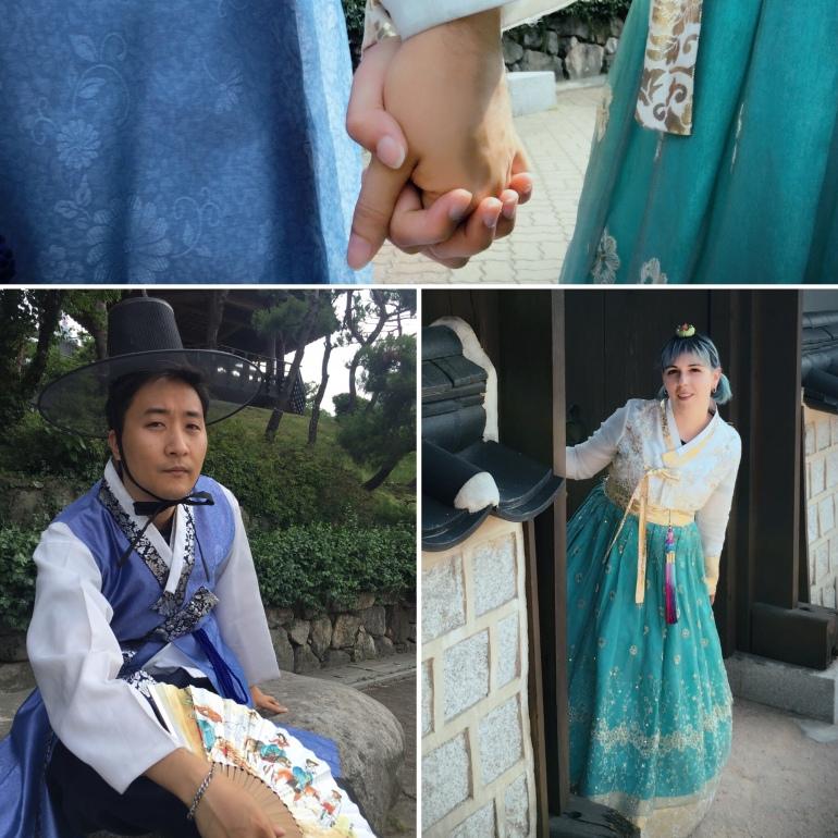 Con Hanbok tradicional por Seúl